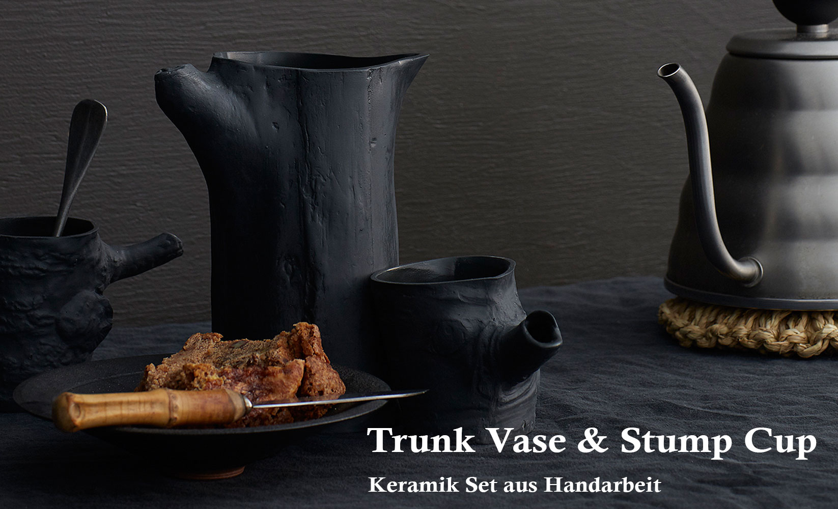 trunk vase stump cup ceramics black schwarzes keramik kannen set becher atelier mur mur