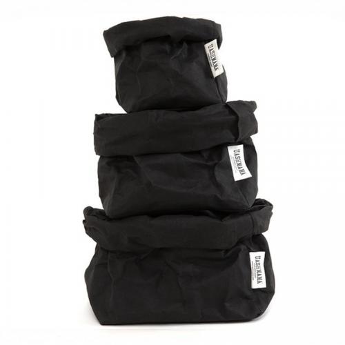 ALLE GRÖßEN - UASHMAMA waschbare Papiertasche - schwarz