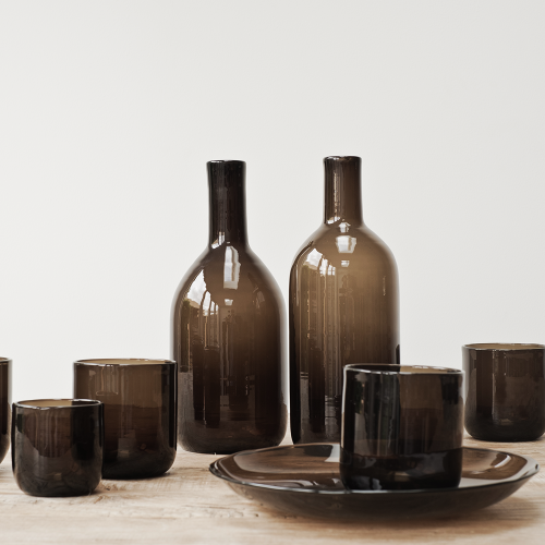 WATER & WINE - Mundgeblasenes Glas Set braun - Ay Illuminate