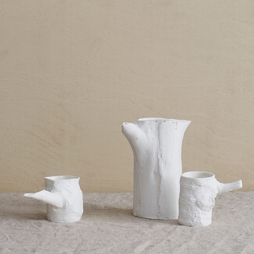 Ceramic jug and cup set - Trunk vase & Stump cups white handmade