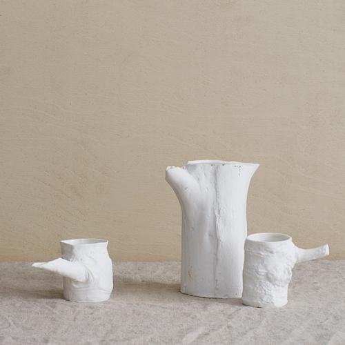 Keramik Kanne und Becher Set - Trunk Vase & Stump Tassen weiß Handarbeit